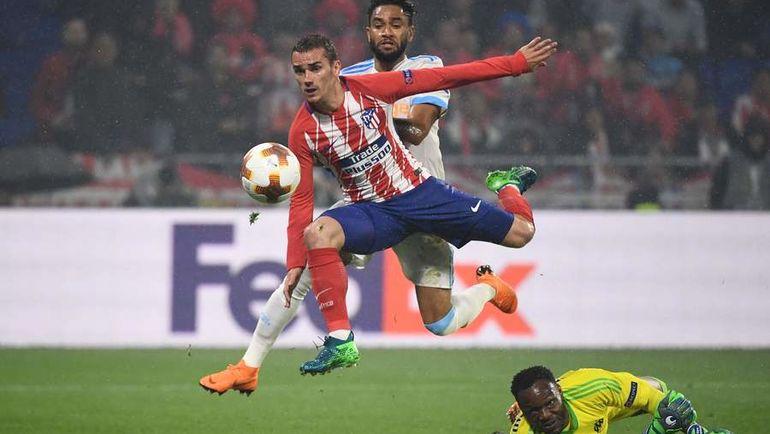 """Среда. Лион. """"Марсель"""" – """"Атлетико"""" – 0:3. 49-я минута. Антуан ГРИЗМАНН оформляет дубль. Фото AFP"""