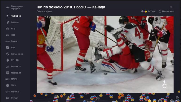 """Эмоции пользователей """"Яндекса"""" на события матча Россия - Канада."""