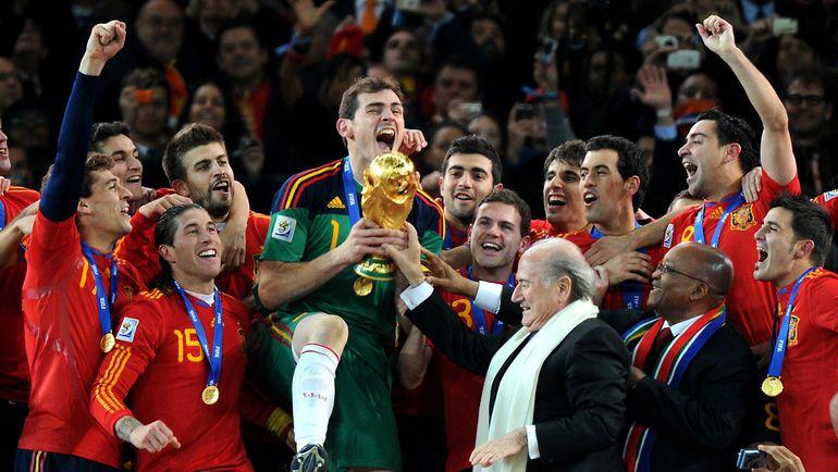 11 июля 2010 года. Йоханнесбург. Голландия - Испания - 0:1. Испанцы празднуют победу на чемпионате мира. Фото AFP