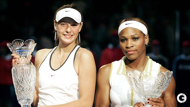 2004. Лос-Анджелес. Итоговый турнир WTA. Мария ШАРАПОВА и Серена УИЛЬЯМС..
