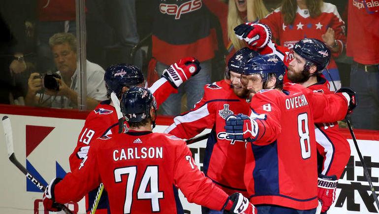 """Вашингтон. 5 июня. """"Вашингтон"""" - """"Вегас"""" - 6:2. """"Кэпиталз"""" празднует гол. Фото NHL.com"""