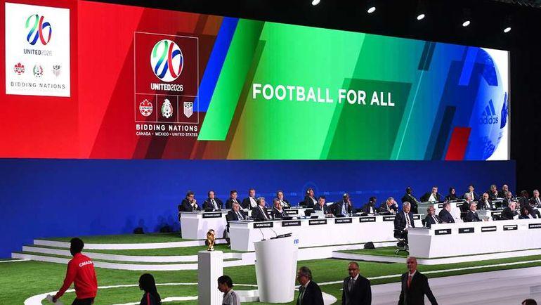 Презентация совместной заявки США, Канады и Мексики на конгрессе ФИФА в Москве. Фото AFP