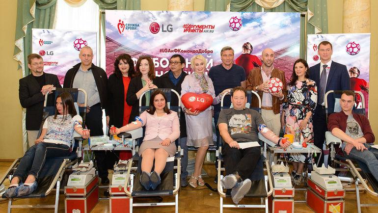Участники футбольного Дня донора.