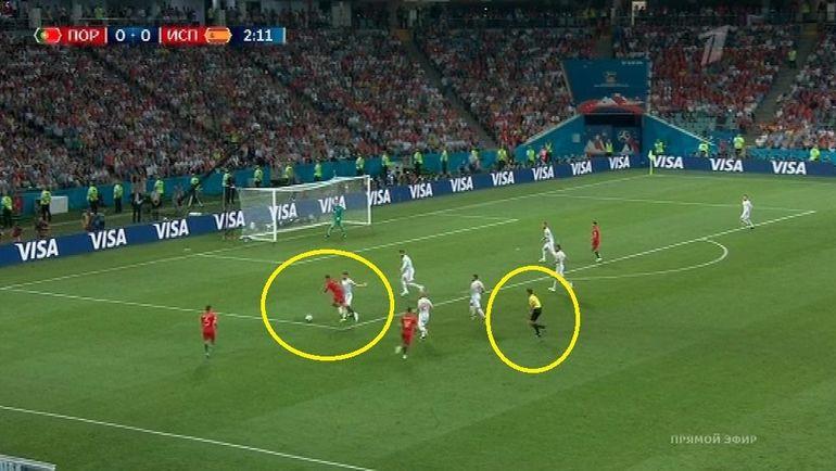 Разбор момента с назначением пенальти в ворота Испании.