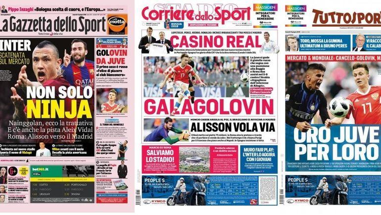 Обложки итальянских газет.