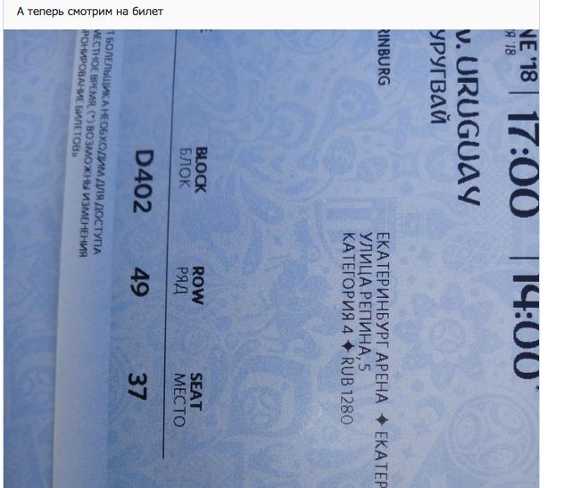 Билет на матч Египет - Уругвай (0:1).