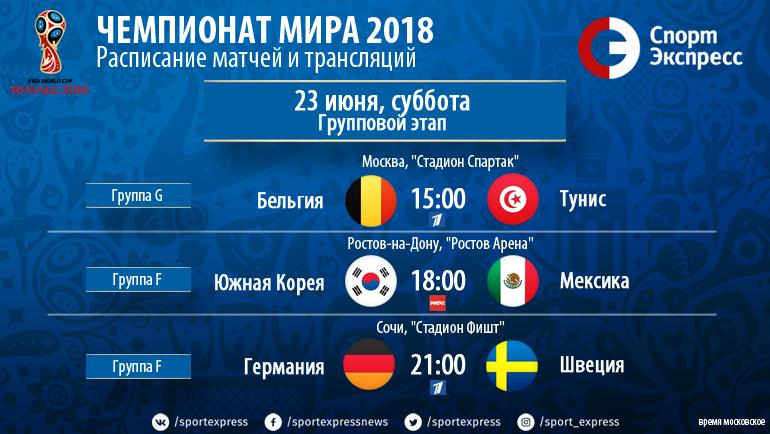 Чемпионат мира-2018. 23 июня. Расписание и результаты дня. Футбол ... df6f1413171