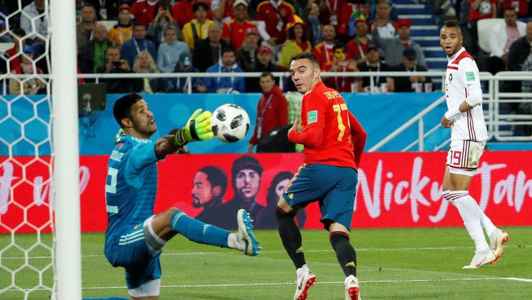 Понедельник. Калиниград. Испания - Марокко - 2:2. 90+1 минута. Победный гол Яго АСПАСА (№ 17). Фото REUTERS