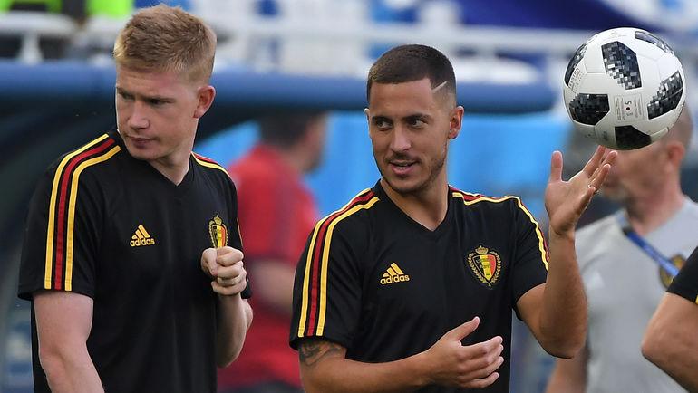 Кевин де БРЕЙНЕ (слева) и Эден АЗАР. Фото AFP