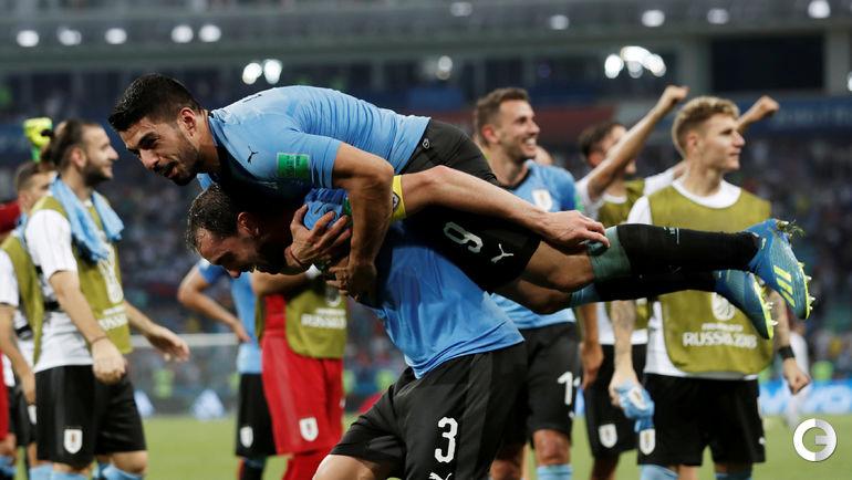 Суббота. Сочи. Уругвай - Португалия - 2:1. Уругвайцы празднуют выход в четвертьфинал ЧМ-2018.