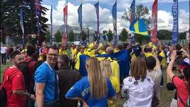 Шведские болельщики перед матчем в Санкт-Петербурге