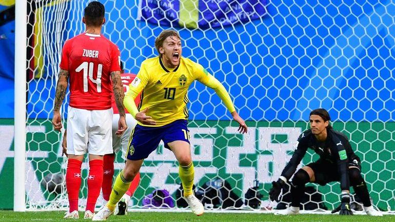 Сегодня. Санкт-Петербург. Швеция - Швейцария - 1:0. 66-я минута. Эмиль ФОРСБЕРГ забил единственный гол в матче. Фото AFP