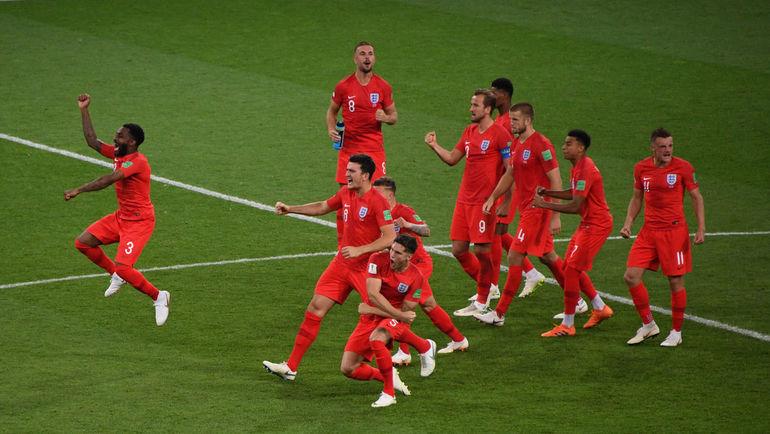 """Вторник. Москва. Тушино. Колумбия - Англия - 1:1, пенальти - 3:4. Игроки английской сборной празднуют победу в матче. Фото Дарья ИСАЕВА, """"СЭ"""""""