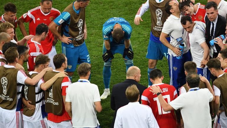 """Суббота. Сочи. Россия - Хорватия - 2:2, пенальти - 3:4. Сборная перед серией пенальти. Фото Дарья ИСАЕВА, """"СЭ"""""""