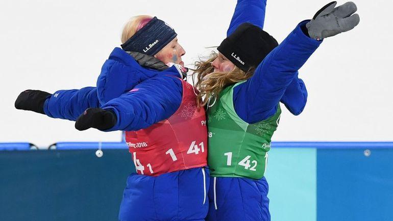 Киккан РЭНДАЛЛ и Джессика ДИГГИНС на Олимпиаде в Пхенчхане. Фото AFP