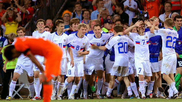 21 июня 2008 года. Базель. Голландия - Россия - 1:3. Сборная России празднует победу в четвертьфинале чемпионата Европы. Фото AFP