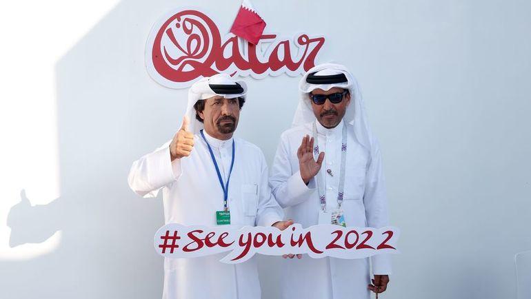 "Представители делегации ""Катар-2022"" на презентации проекта в Москве. Фото AFP"