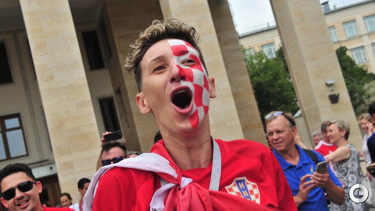 Сегодня. Москва. Болельщики сборной Хорватии идут на финальный матч ЧМ-2018.