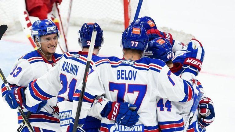 Игроки СКА на предсезонном матче. Фото ХК СКА