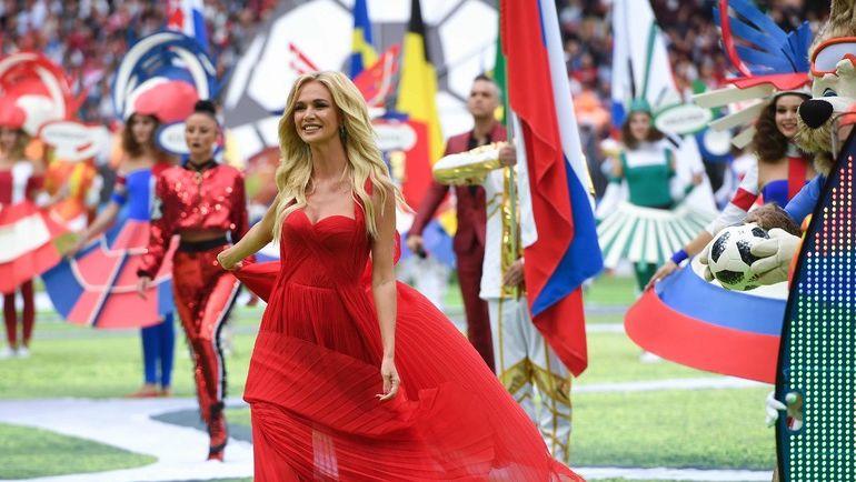 Виктория ЛОПЫРЕВА во время церемонии открытия чемпионата мира-2018. Фото AFP