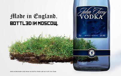 """""""Водка """"Джон Терри"""". Произведена в Англии, разлита в России""""."""