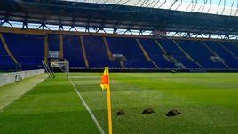Кроты вырыли норы на стадионе в Харькове. Здесь