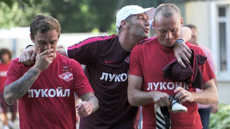 """Андрей Ещенко, Массимо Каррера и Денис Глушаков (слева направо). Фото Александр Федоров, """"СЭ"""""""