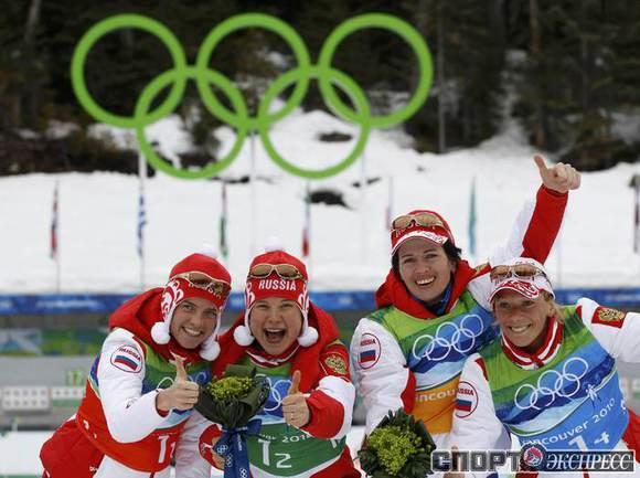 Российские биатлонистки празднуют победу. Фото REUTERS.