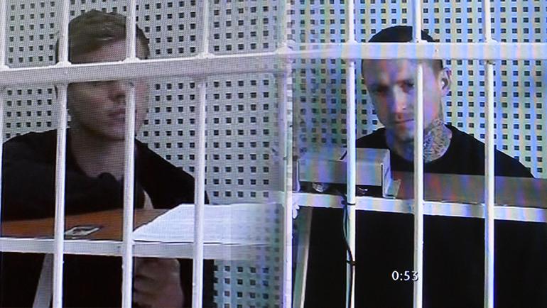"Александр Кокорин и Павел Мамаев: видеосвязь с судом. Фото ""СЭ"""