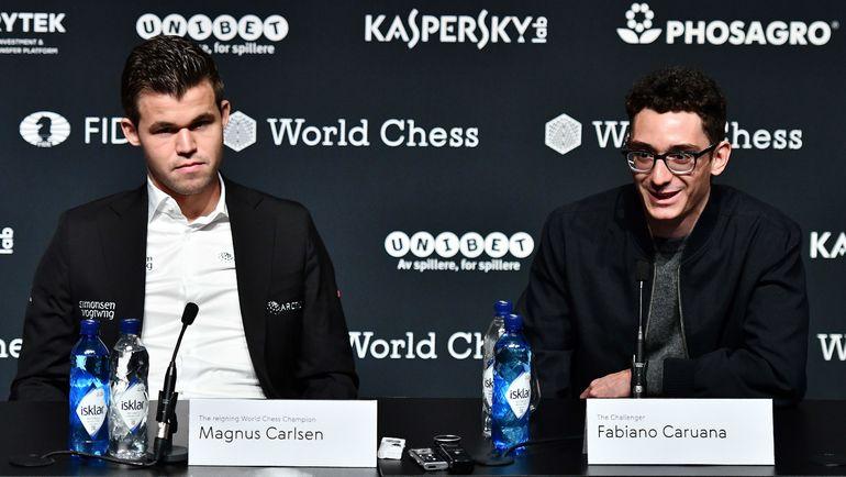 Магнус Карлсен и Фабиано Каруана. Фото AFP