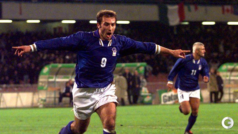 15 ноября 1997 года. Неаполь. Италия - Россия - 1:0. Пьерлуиджи Казираги после гола в ворота сборной России.
