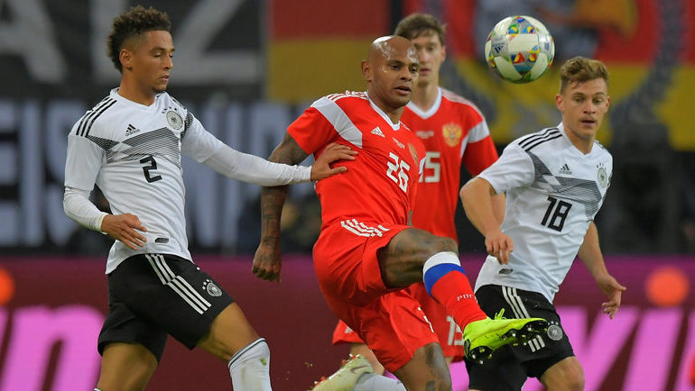 15 ноября. Лейпциг. Германия – Россия – 3:0. В игре Ари (№26). Фото AFP