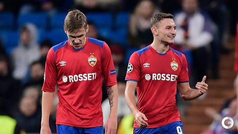 Футболисты ЦСКА Арнор Сигурдссон (слева) и Федор Чалов.