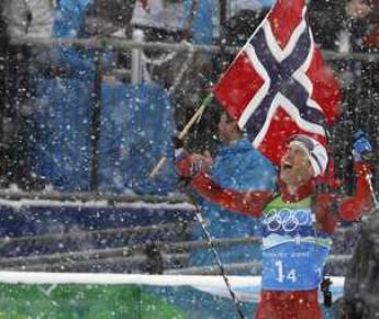 """У Оле Эйнара БЬОРНДАЛЕНА теперь 11 олимпийских наград. Фото REUTERS Фото """"СЭ"""""""
