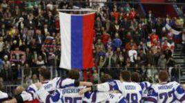 Сегодня. Уфа. Канада - Россия - 5:6 ОТ. Бронзовые призеры МЧМ-2013 во время исполнения Гимна России.
