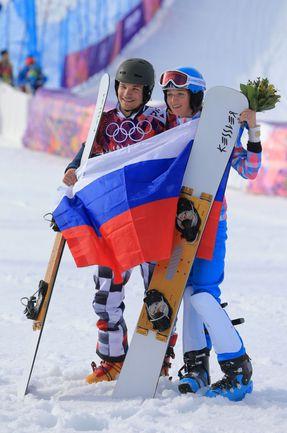 Двукратный чемпион Сочи-2014 Вик УАЙЛД и его жена Алена ЗАВАРЗИНА, которая завоевала на домашних Играх бронзу. Фото ТАСС