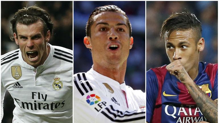 Самые дорогие футболисты мира (слева направо): Гарет БЭЙЛ, КРИШТИАНУ РОНАЛДУ и НЕЙМАР. Фото AFP