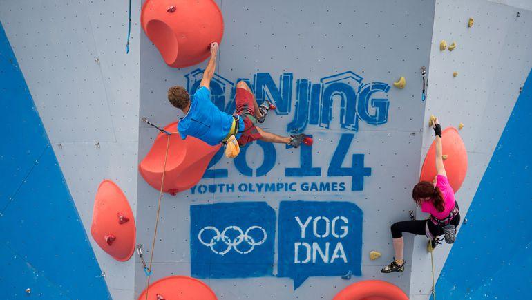 Скалолазание было показательным видом спорта на юношеских Олимпийских играх-2014 в Нанкине. Фото AFP