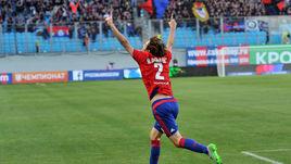 Защитник ЦСКА МАРИУ ФЕРНАНДЕС празднует забитый гол в ворота