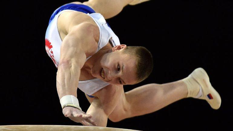 Денис АБЛЯЗИН выполняет опорный прыжок на апрельском чемпионате Европы в Монпелье.