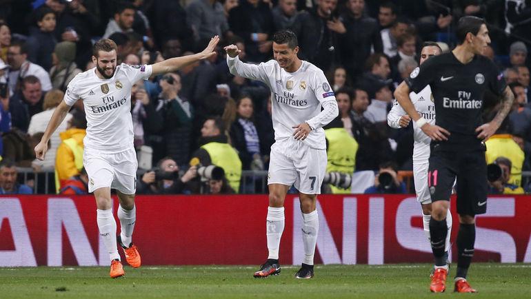 Вторник. Мадрид.'Реал-'ПСЖ- 1:0. НАЧО празднует забитый им гол вместе с Криштиану РОНАЛДУ