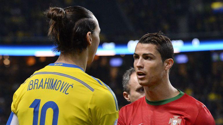 Златан ИБРАГИМОВИЧ и КРИШТИАНУ РОНАЛДУ на Euro оказались в разных статусах. Швед - андердог, а португалец - фаворит. Фото REUTERS