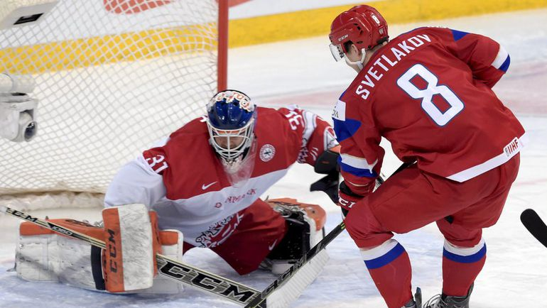 Суббота. Хельсинки. Россия - Дания - 4:3 ОТ. В атаке Андрей СВЕТЛАКОВ. Фото AFP