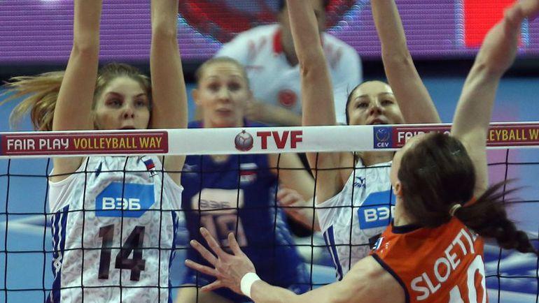 Сегодня. Анкара. Россия - Голландия - 3:1. Блок команды Юрия Маричева. Фото AFP