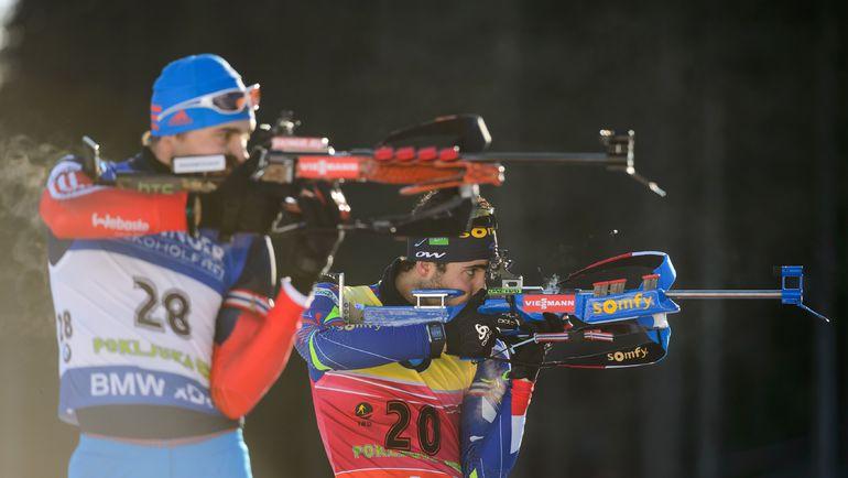Пока Антон ШИПУЛИН (№ 28) далек от того, чтобы составить конкуренцию Мартену ФУРКАДУ в общем зачете Кубка мира. Фото AFP