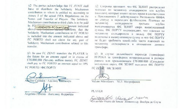 "Договор между ""Зенитом"" и ""Порту"" о трансфере ХАЛКА. Фото Football Leaks"