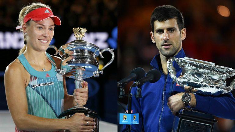 Победители Australian Open-2016 в одиночном разряде: Анжелика КЕРБЕР и Новак ДЖОКОВИЧ. Фото AFP