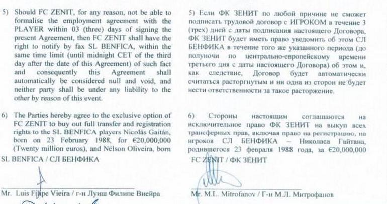 "Договор ""Бенфики"" и ""Зенита""."