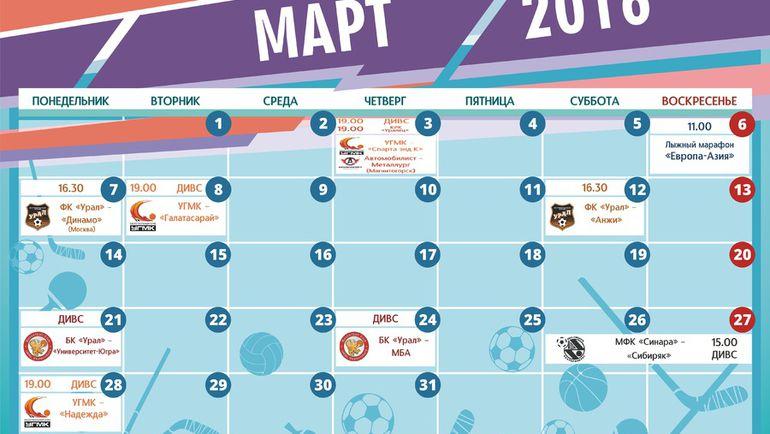 Календарь спортивных событий Екатеринбурга на март.