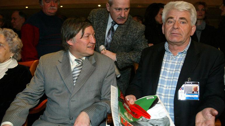 2004 год. Москва. Анатолий КАРПОВ и Борис СПАССКИЙ. Фото Александр ФЕДОРОВ,